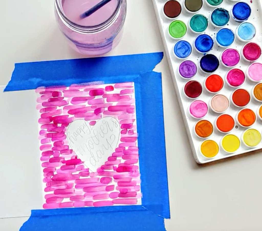 Quick tutorial on a fun watercolor mother's day card! // www.prettyprintsandpaper.com