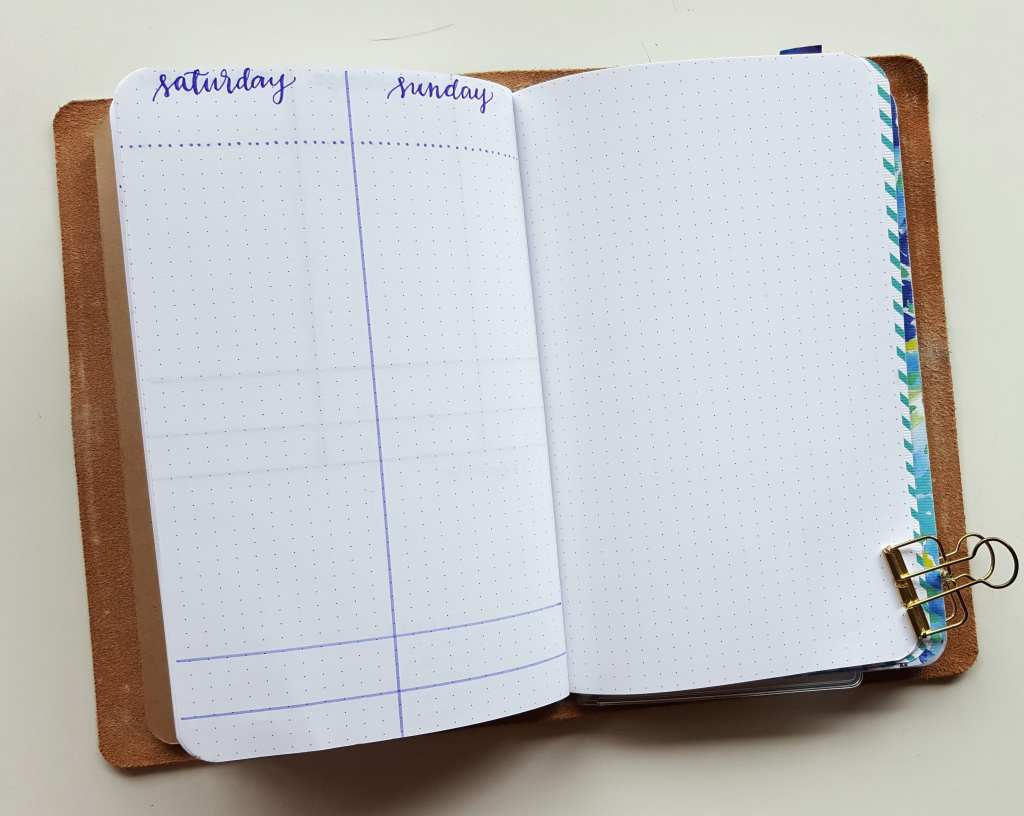The bookend to my weekly layouts in my bullet journal - weekend dailies with a lot of room a few sections