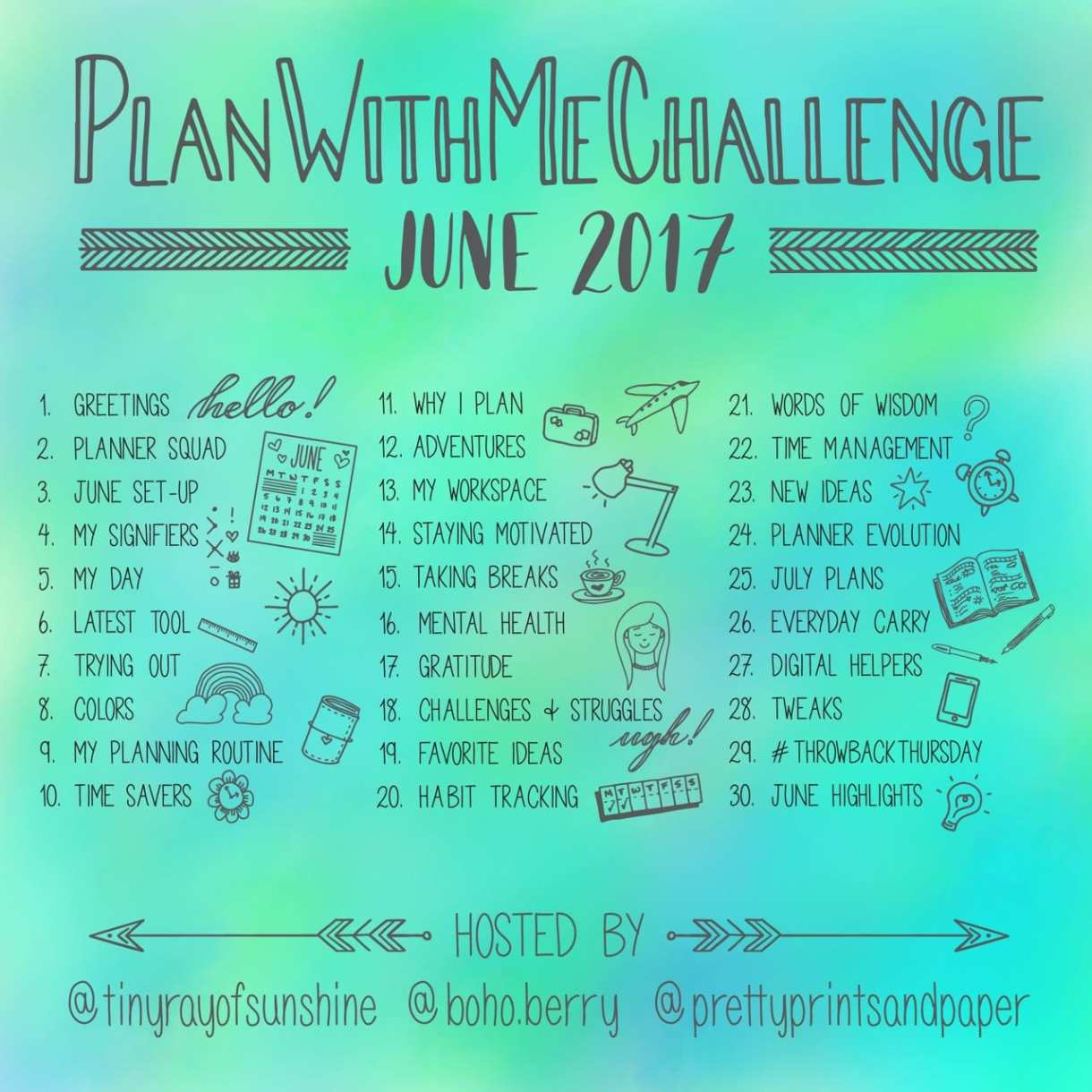 Join @prettyprintsandpaper, @tinyrayofsunshine, and @boho.berry for this month's PlanWithMeChallenge!