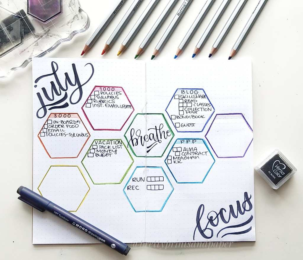 See how I'm setting up for July in my traveler's notebook bullet journal and how I'm using this monthly project layout.