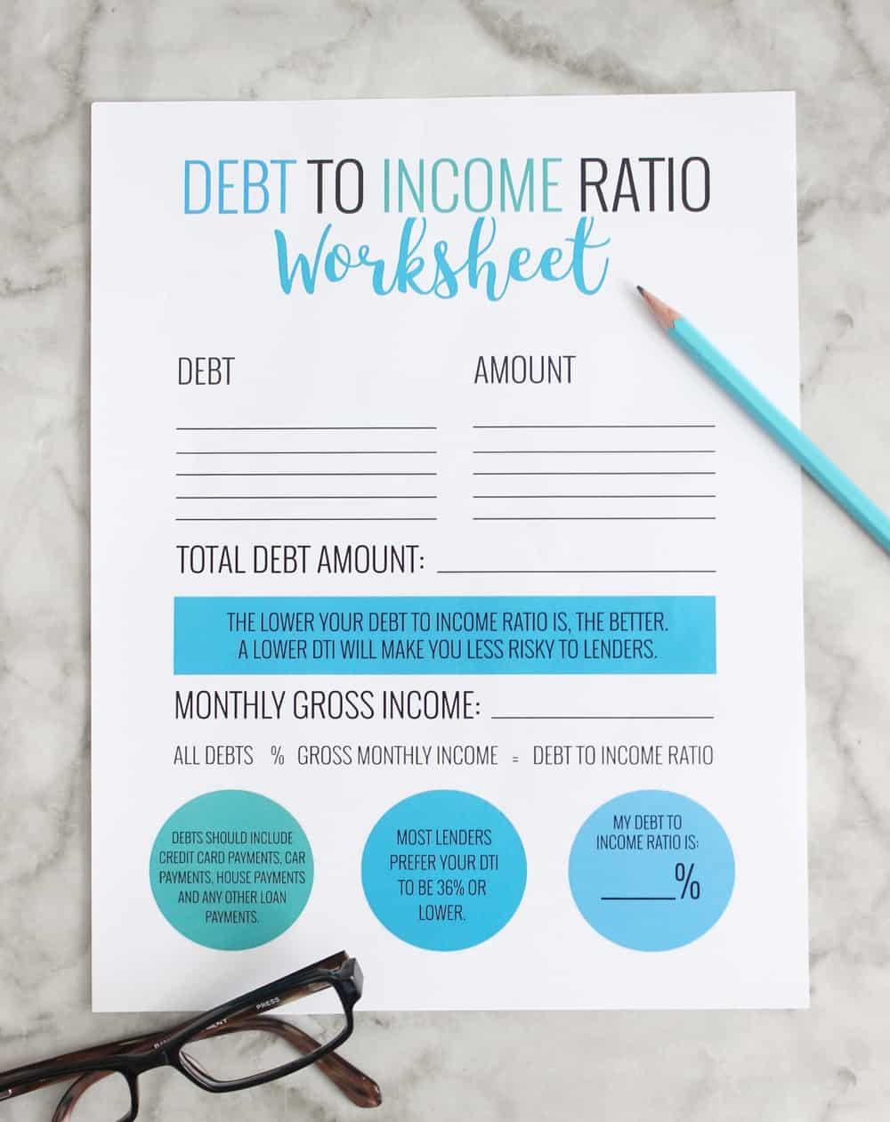debt to income ratio free printable worksheet