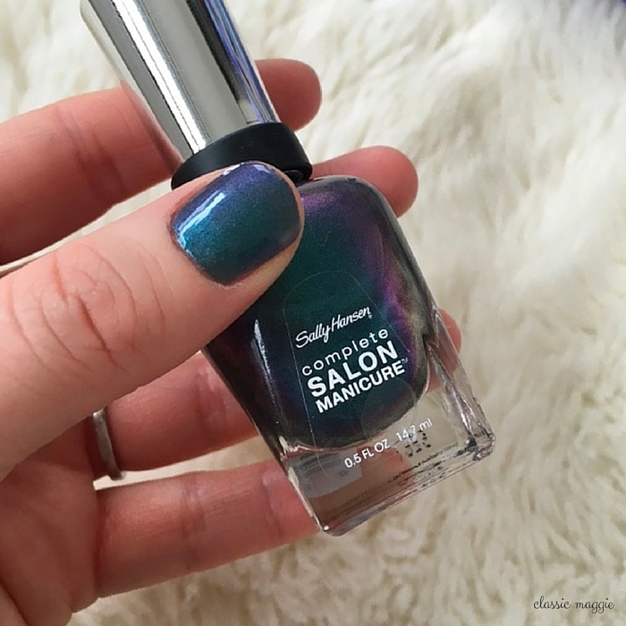 duochrome nail polish - sally hansen black and blue