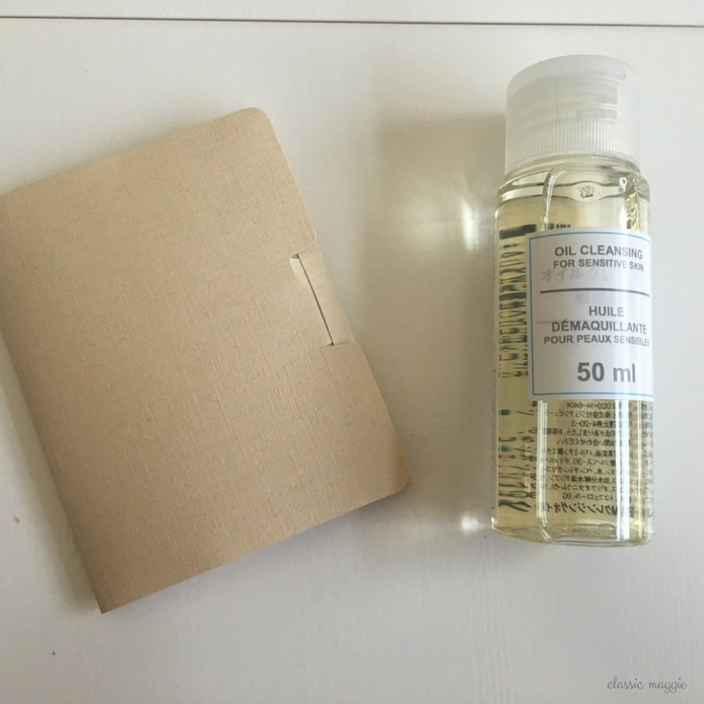 muji blotting papers and cleansing oil