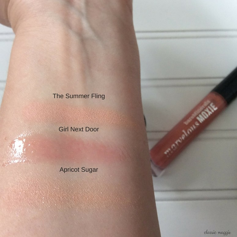 Swatches of bareMinerals Pretty in Peach set