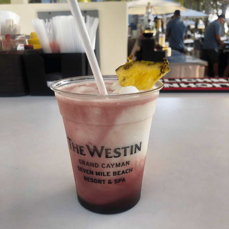 a picture of a Pina Colada with blackberry Liqueur at the Westin Seven Mile Beach Grand Cayman Islands