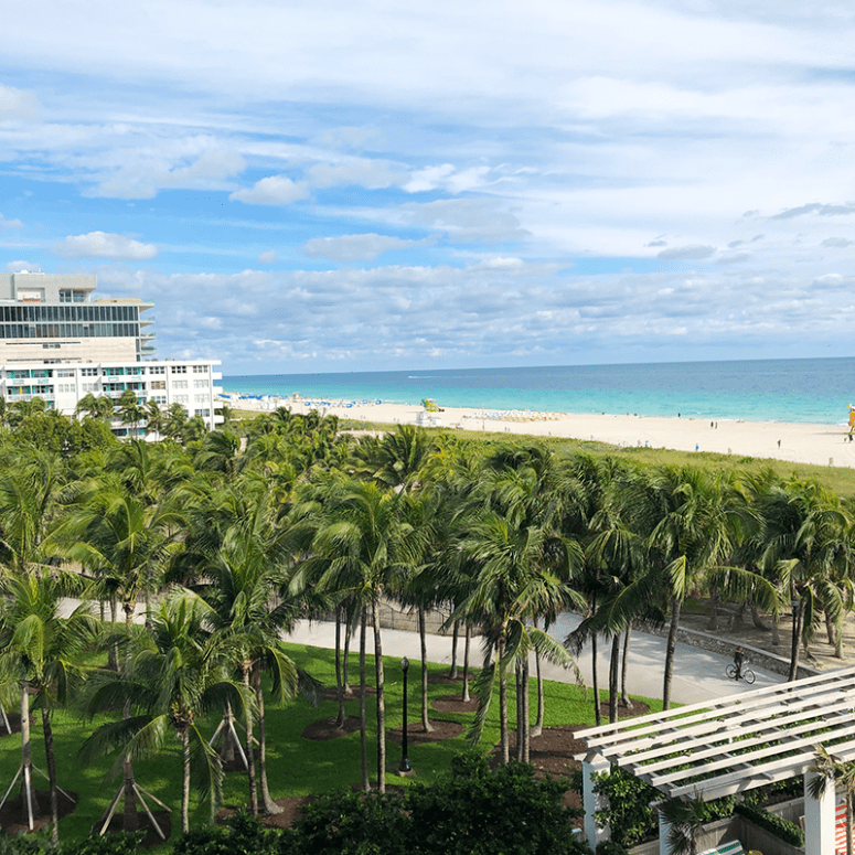 View from the balcony of a guest room at the Mariott Stanton South Beach, Miami