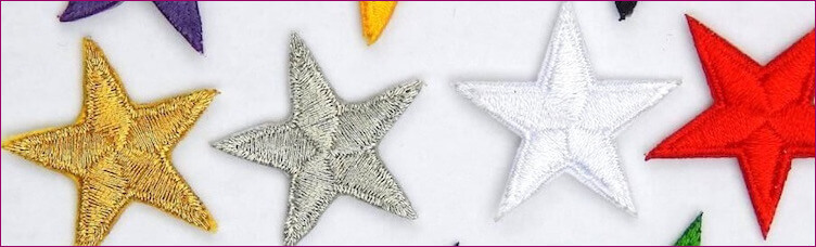 Iron on, embroidered stars, iron-on