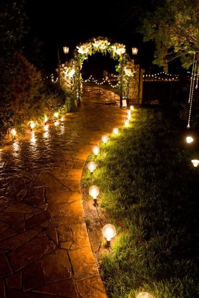 Glowing bulbs in the pathway