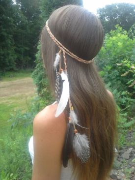 Side Feathers Sling Head Band
