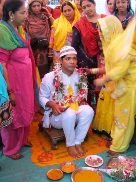 The groom awaiting the Haldi ceremony