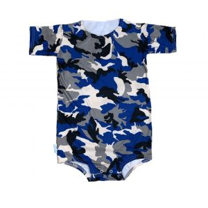 blue camo special needs onesie