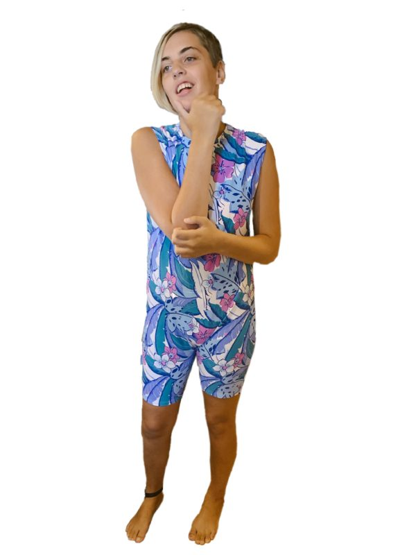 Blue hibiscus adaptive swimsuit - Special Needs Incontinence Clothing by Preventa Wear