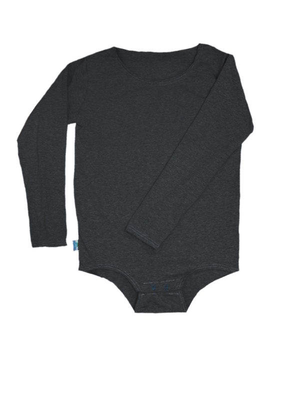 Charcoal Gray Onesie - Incontinence Clothes, Special Needs Bodysuit - Preventa Wear
