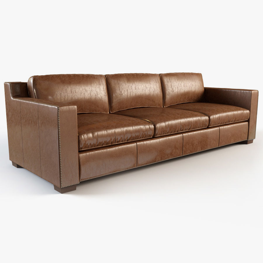 collins leather sofa with nailheads 3d