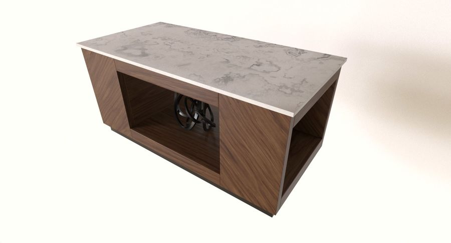 marble and wood coffee table 3d model