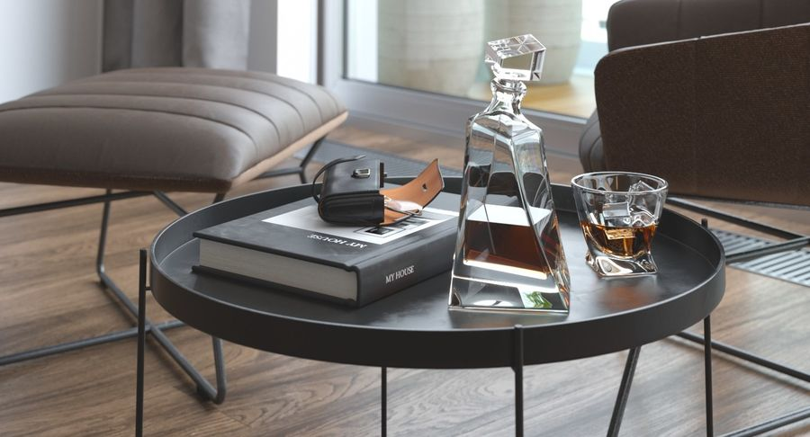 coffee table with accessories 3d model