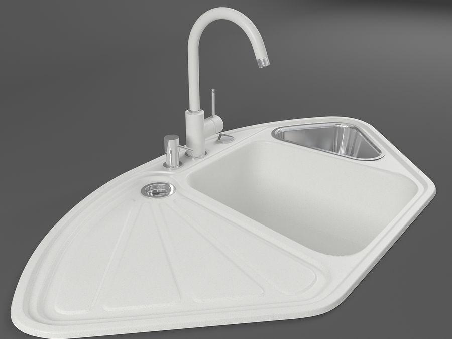 kitchen sink delta white 3d model 15