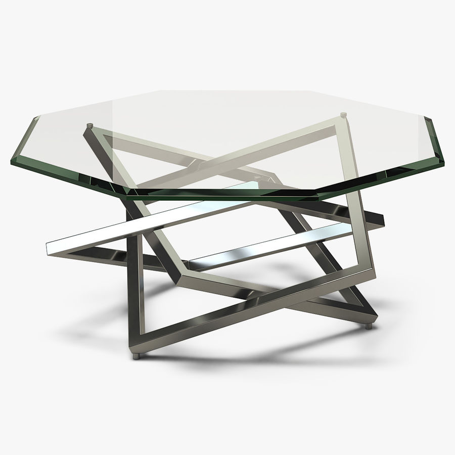 coffee table octagon metal glass 001 3d
