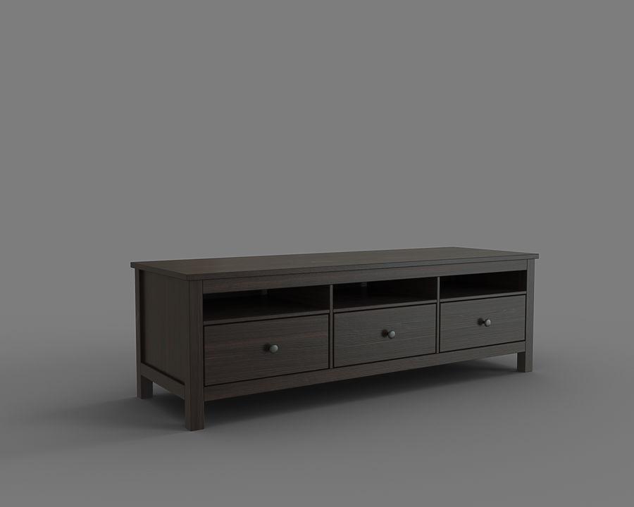 meuble tv hemnes brun noir modele 3d