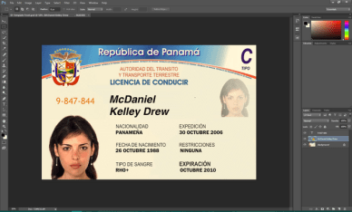 Panama driving licence psd template
