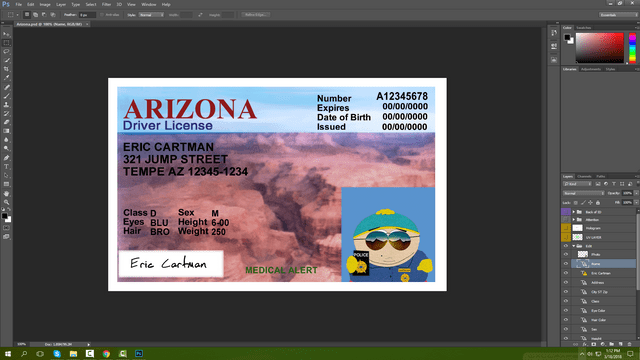 Arizona Driving Licence PSD Template