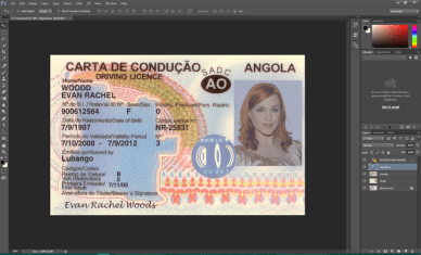Angola Driving licence psd template