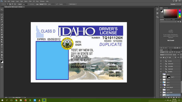Idaho driving licence psd template