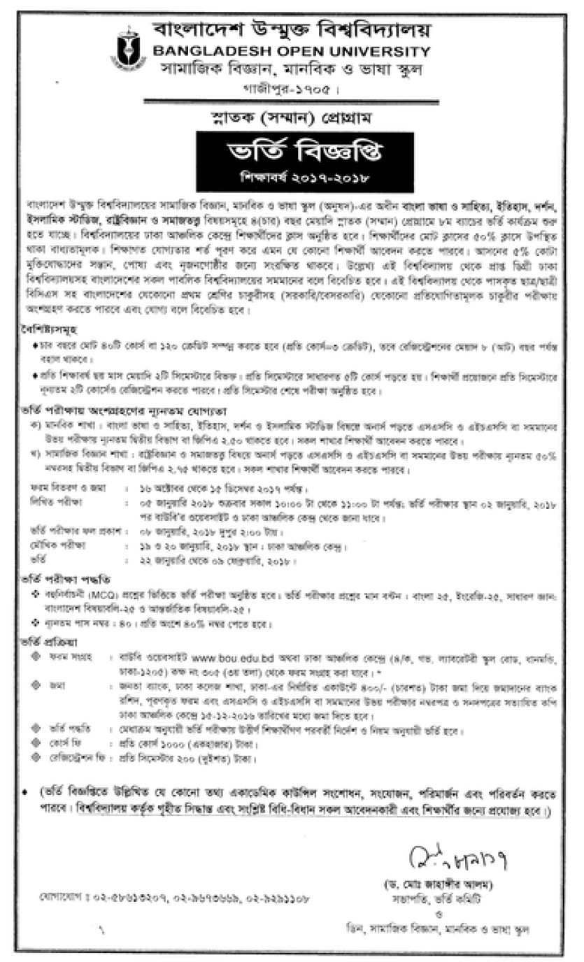 BOU BA BSS Admission Notice Result