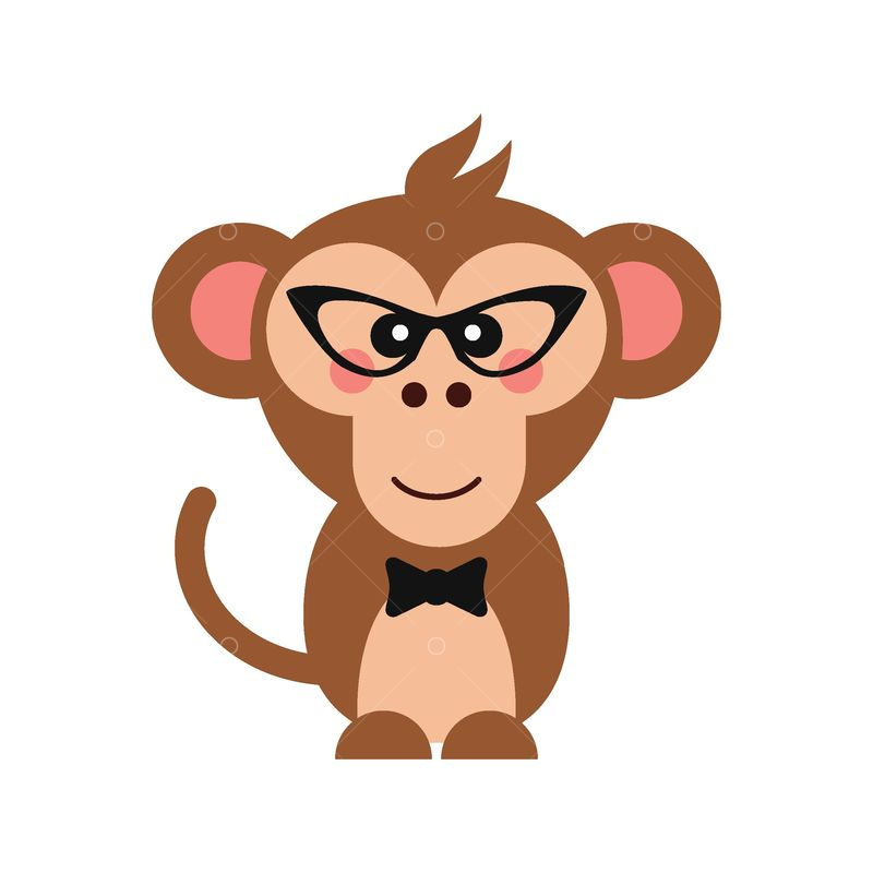 Cute Monkey With Glasses And Bow Tie Graphic Vector Stock By Pixlr