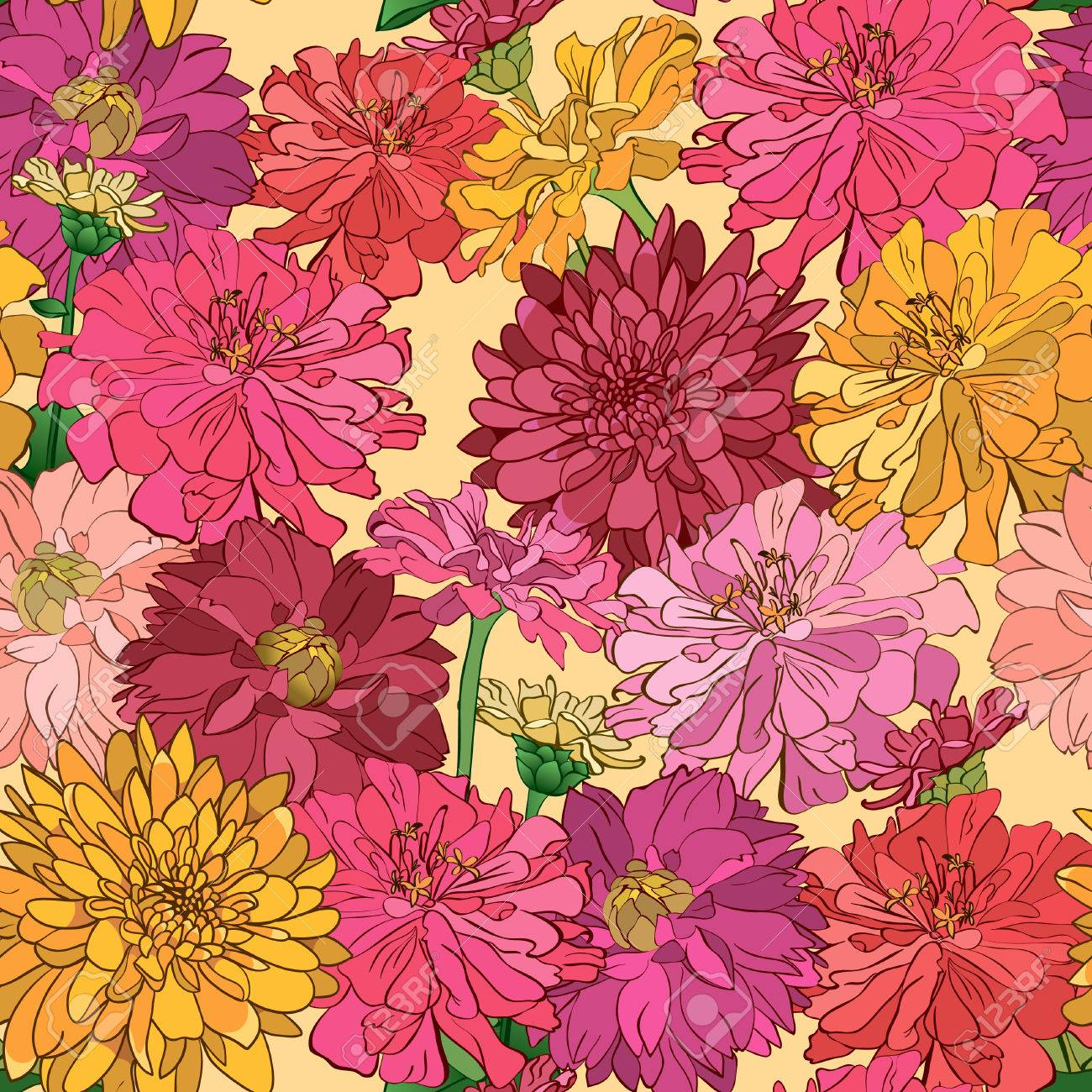 Seamless Floral Wallpaper With Hand Drawn Flowers Brightly Colored Royalty Free Cliparts Vectors And Stock Illustration Image 30029803