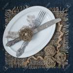 Burlap Eco Friendly Decor Diy Concept Homemade Napkin Of Burlap Stock Photo Picture And Royalty Free Image Image 67697864
