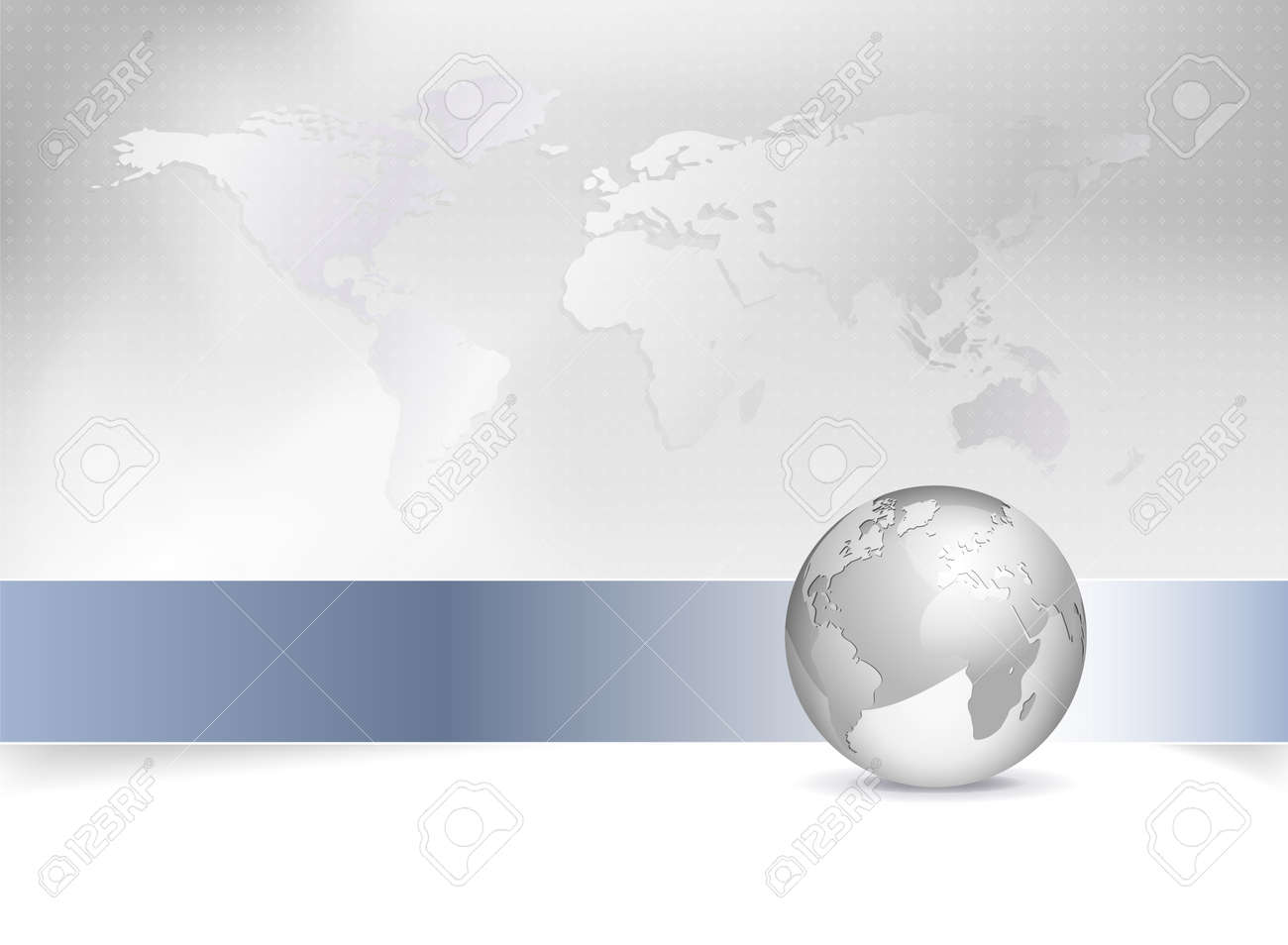 Business Map   World Map  Globe   Abstract Grey Background Design     Business map   world map  globe   abstract grey background design with blue  banner Stock