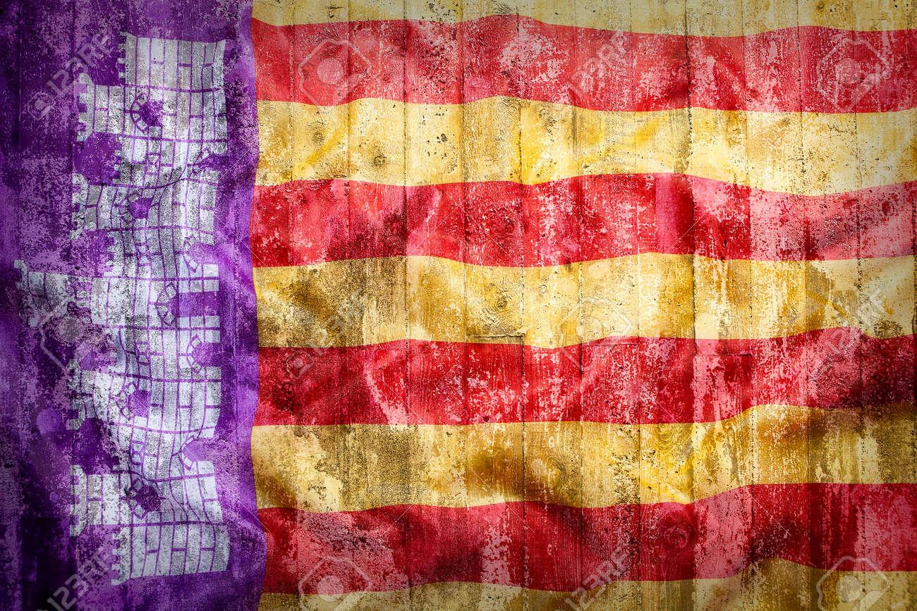 grunge stil von mallorca flagge auf einer mauer fur den hintergrund lizenzfreie fotos bilder und stock fotografie image 63147381