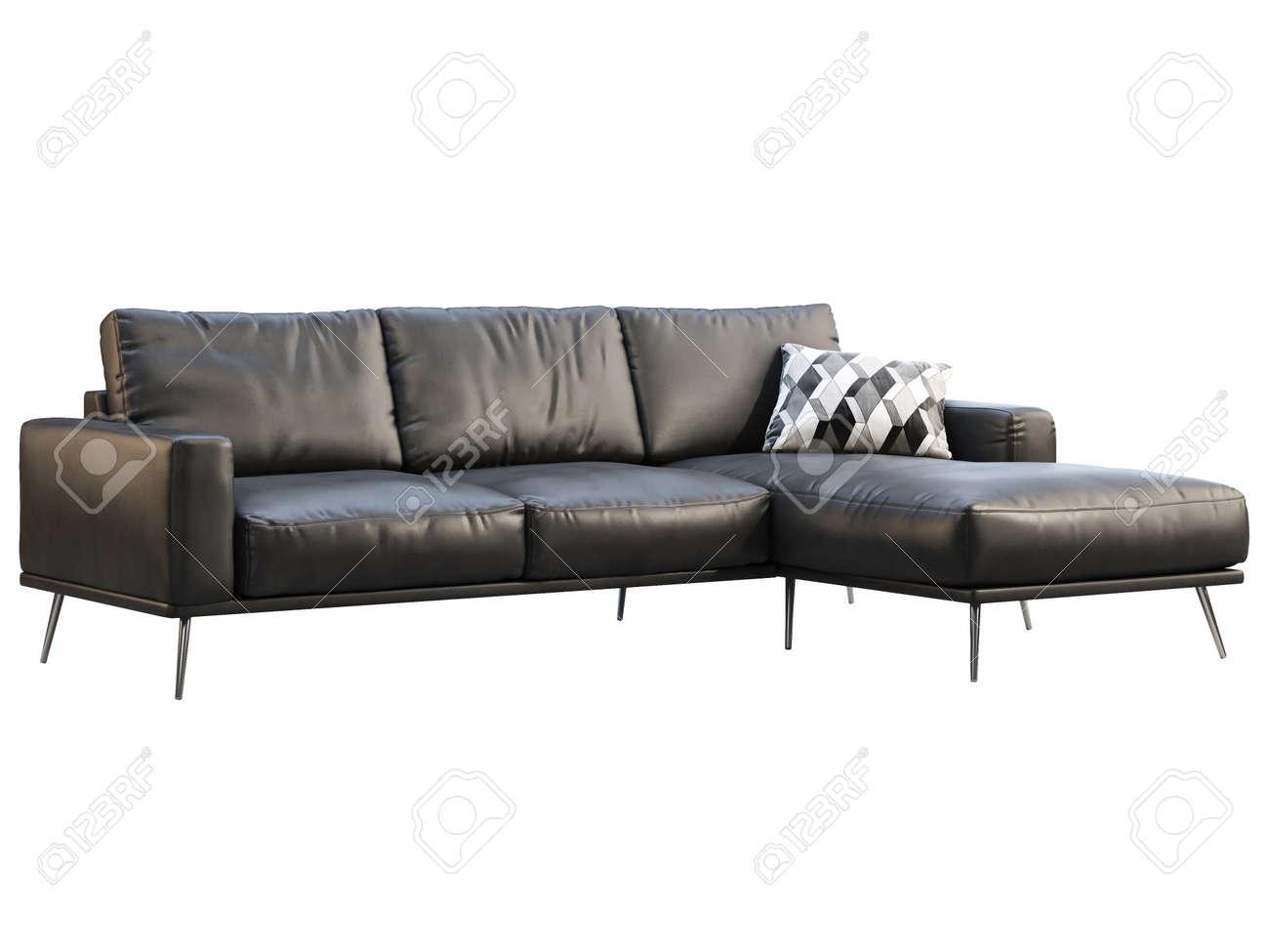 modern chaise lounge sofa black leather corner sofa with metal legs on white background mid century modern loft chalet scandinavian interior 3d