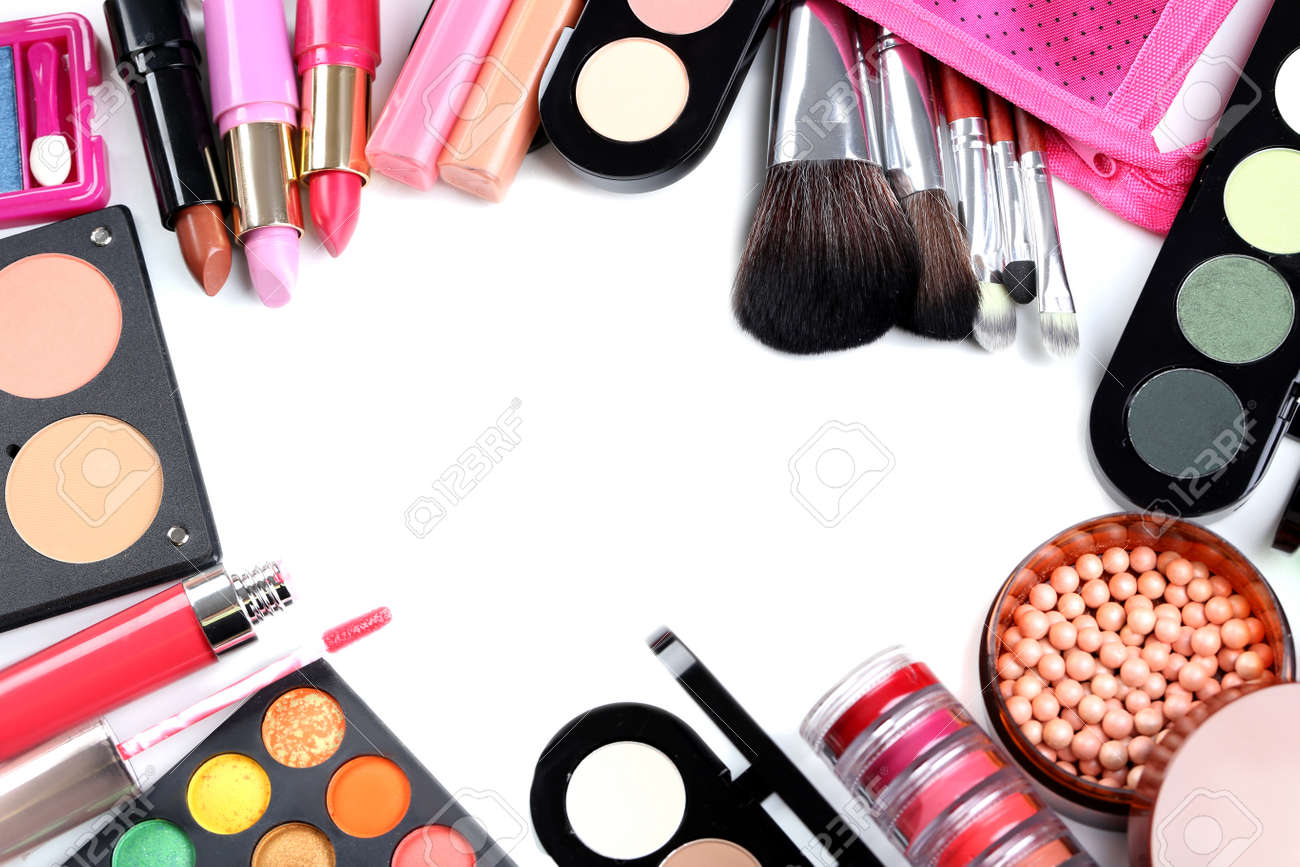 Makeup Brush And Cosmetics On A White Background Stock Photo     Makeup brush and cosmetics on a white background Stock Photo   46166607