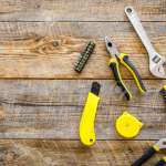 Set Of Tools For Build And Repair House On Wooden Desk Background Stock Photo Picture And Royalty Free Image Image 86210147