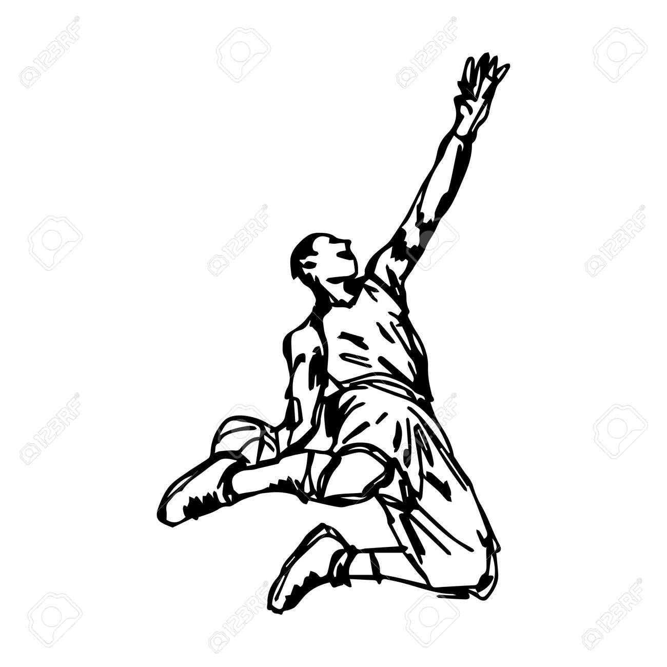 Basketball player making slam dunk vector illustration sketch 75564163 basketball player making slam dunk vector illustration sketch hand drawn isolated on