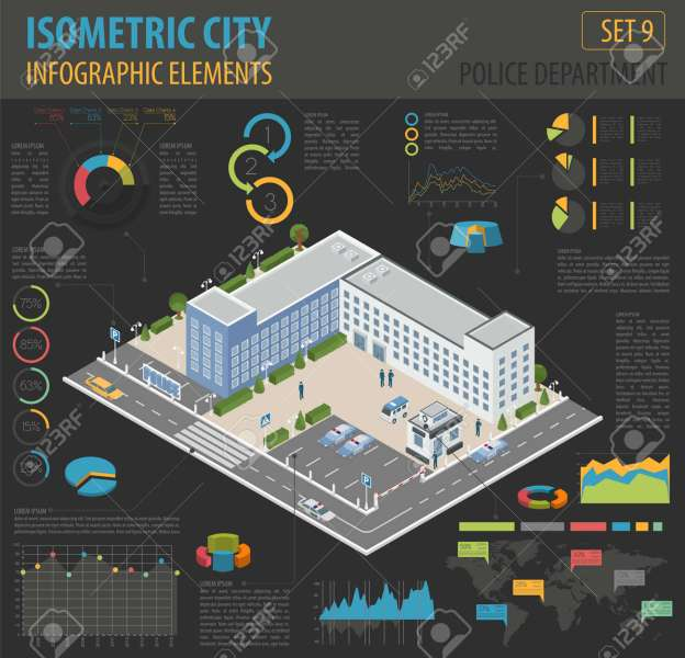 Flat 3d Isometric Police Department And City Map Constructor     Flat 3d isometric Police Department and city map constructor elements such  as building  police officer