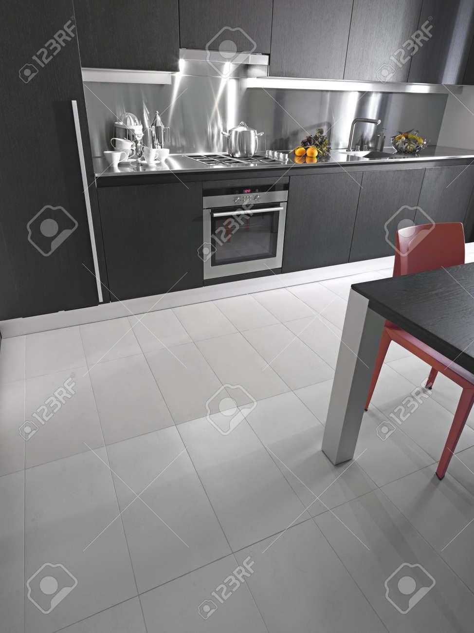 detail de carrelage dans une cuisine moderne