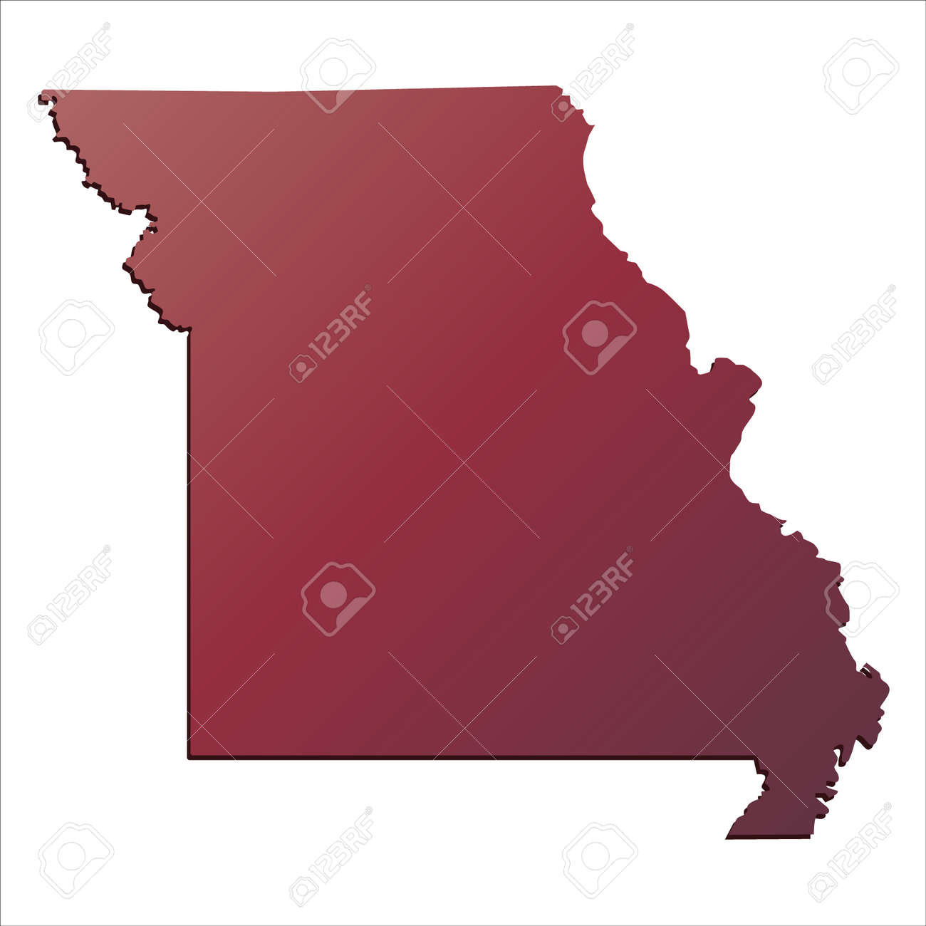 Autumn Gradient Missouri  USA  State Map With Shadow Royalty Free     Autumn Gradient Missouri  USA  State map with shadow Stock Vector   71675891