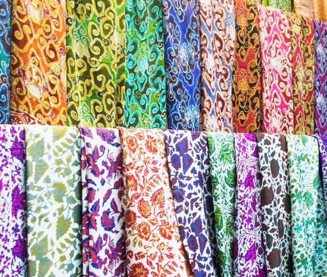 Stock Photo Traditional Batik Pattern Design On Silk Fabric And Cloth At Store Display Batik Is World Heritage