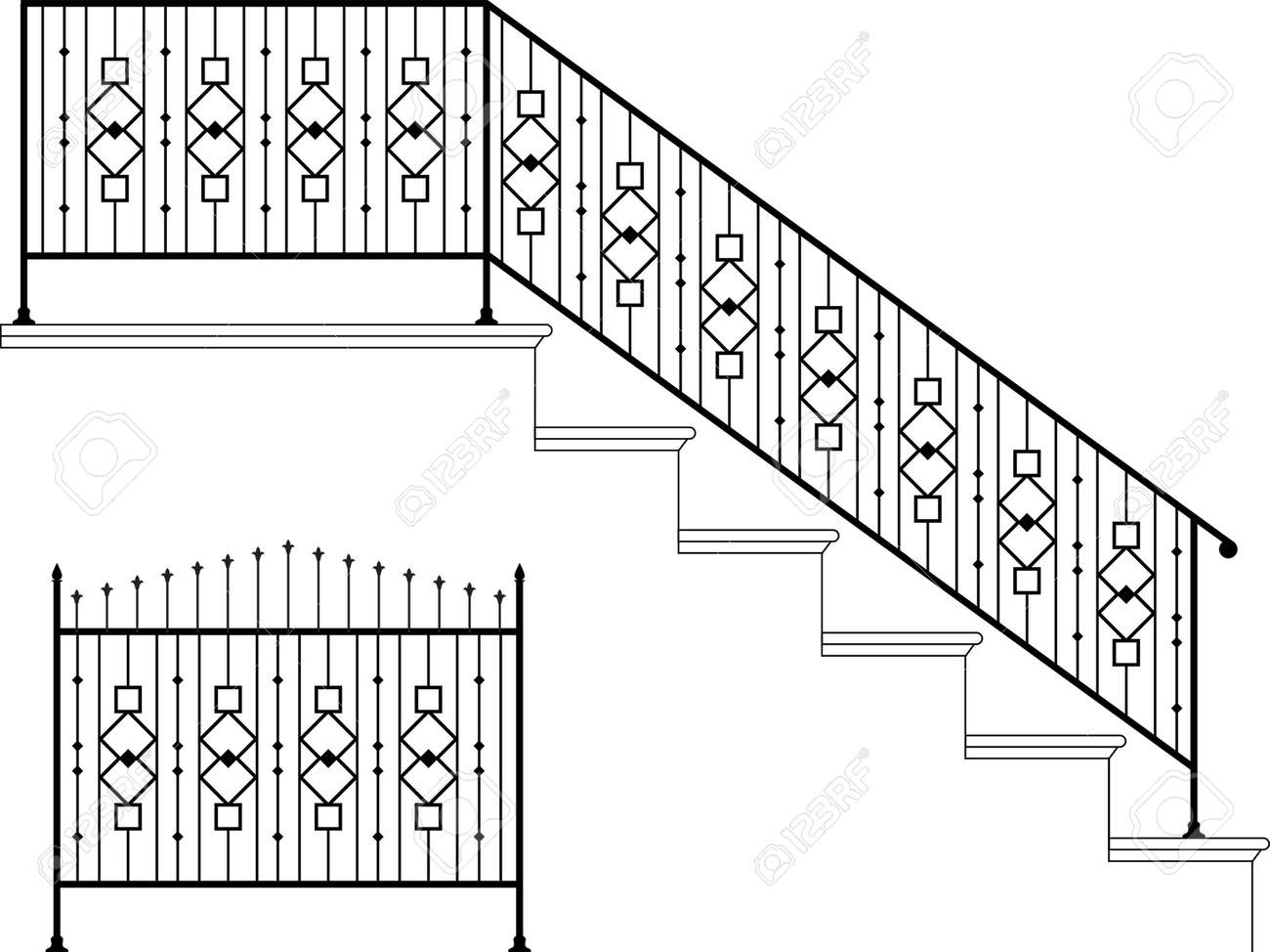 Wrought Iron Stair Railing Design Vector Art Royalty Free Cliparts   Stairs Railing Designs In Iron   Rot Iron Staircase   Vertical   Stairway   Grill   Modern