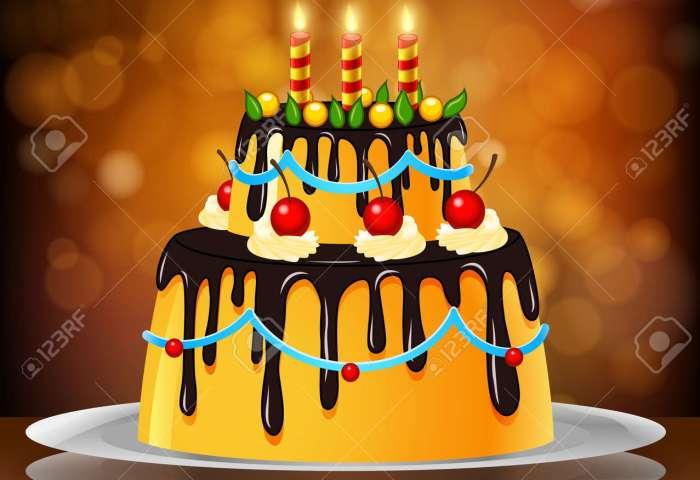 Beautiful Happy Birthday Cake On Artistic Background Royalty Free