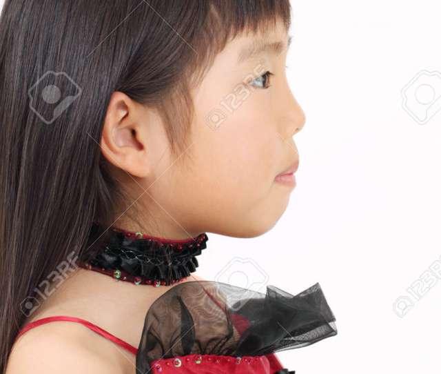 Little Asian Girl Wearing Dress Side View Stock Photo 12937693