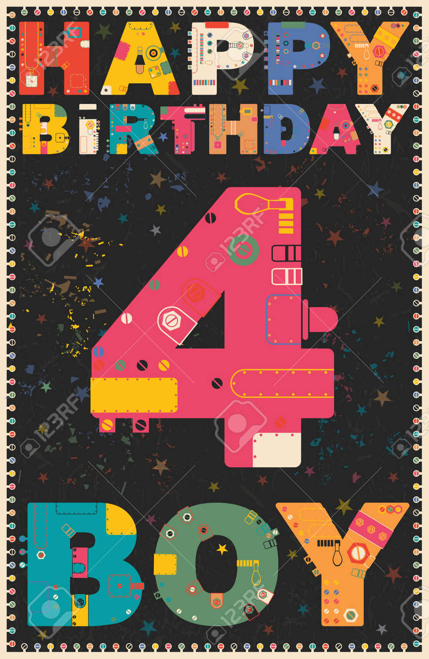 Happy Birthday Card Happy Birthday Boy 4 Years Gift Card Vector Royalty Free Cliparts Vectors And Stock Illustration Image 48594673