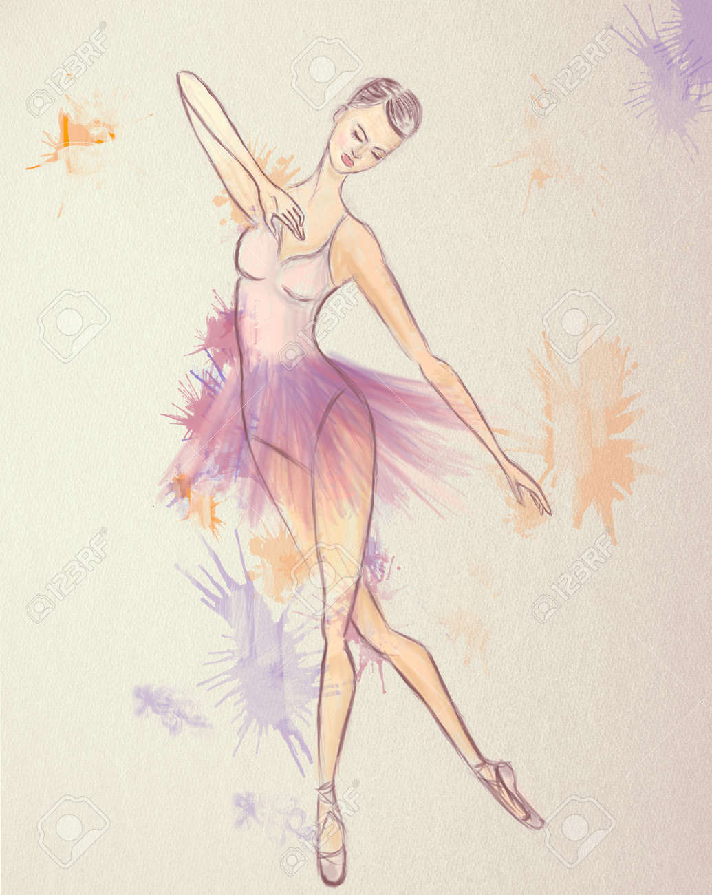 Ballerina Drawing. Ballet Dance Performer Stock Photo, Picture And ...