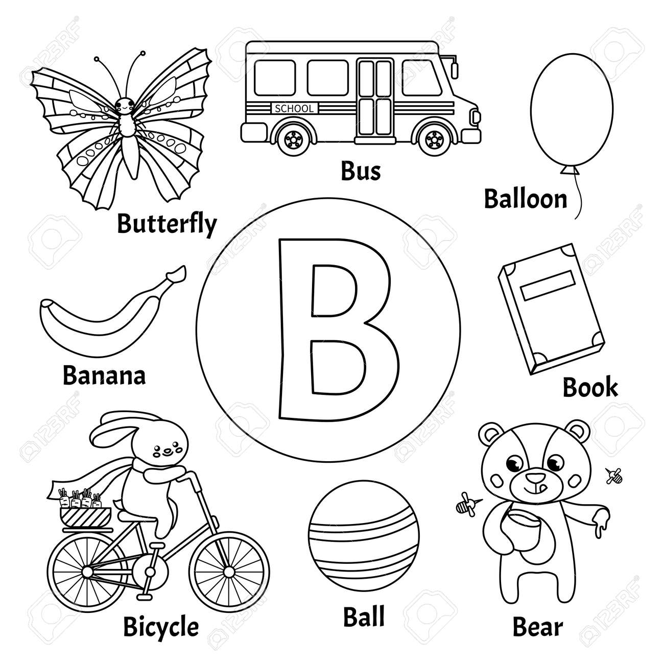 Learning Card Alphabet Letter B Set Of Cute Cartoon Illustrations Royalty Free Cliparts Vectors And Stock Illustration Image 126973629