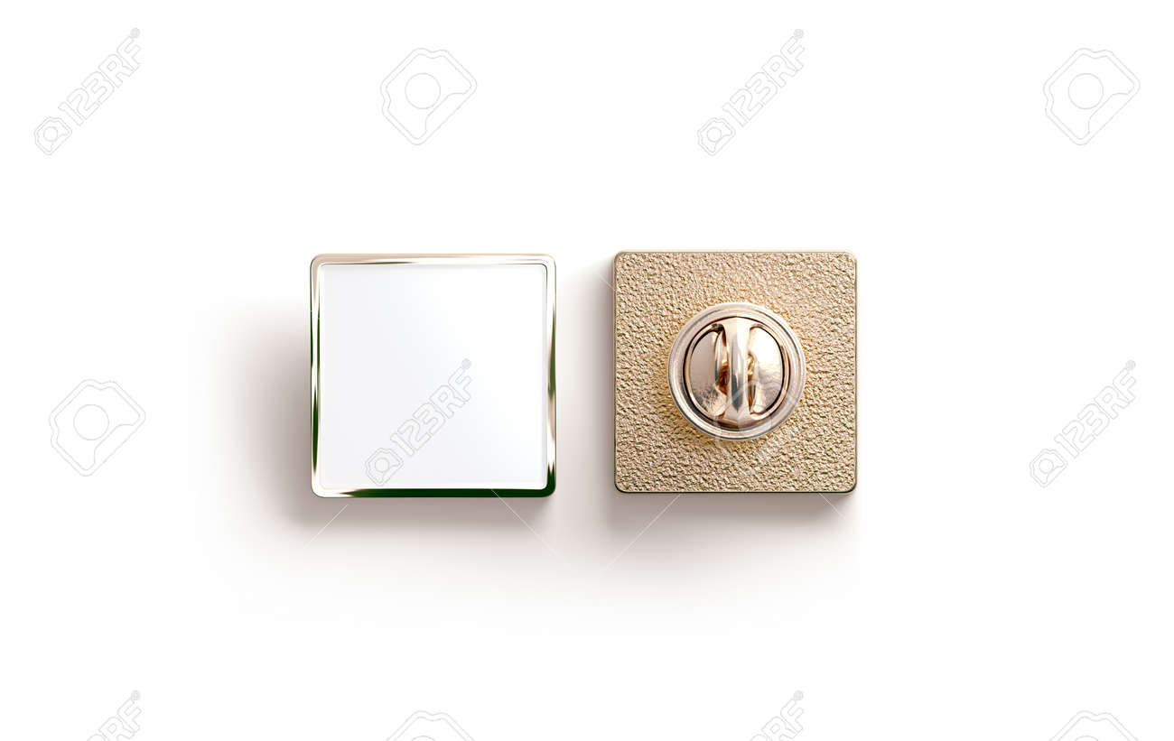 Blank Gold Enamel Pin Mock Up Front And Back Side View 3d Rendering