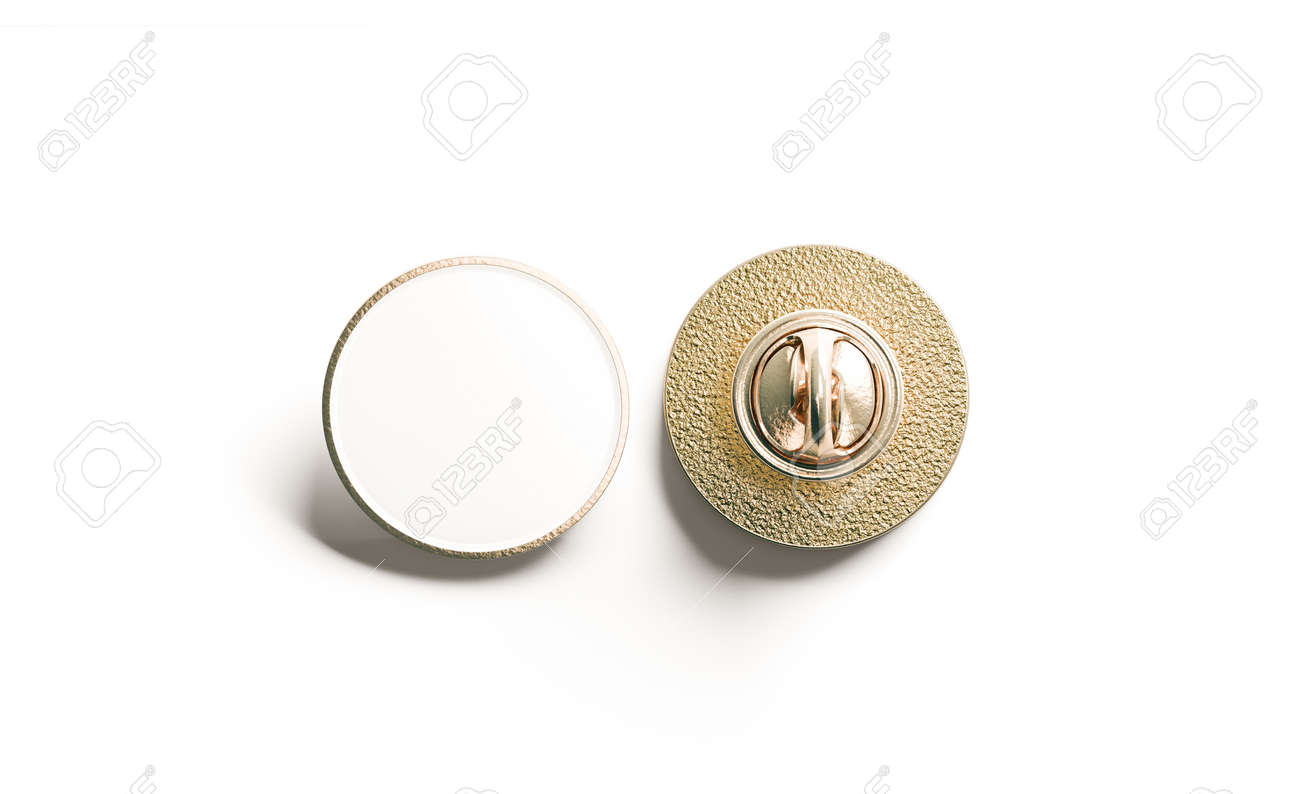 Blank White Round Gold Lapel Badge Mock Up Front And Back Side