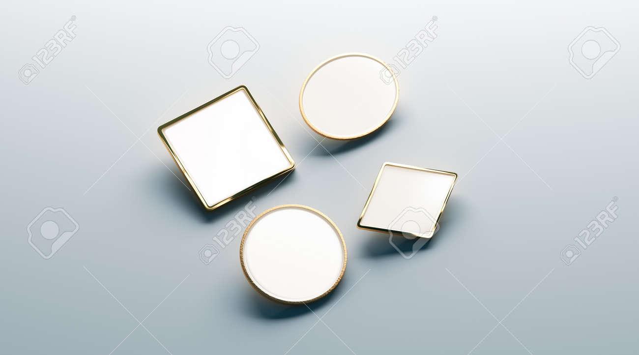 Blank White Gold Lapel Badge Mock Ups Set Round Square Rhombus